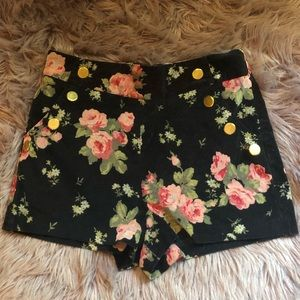 Ark & Co. Velvet Floral Shorts